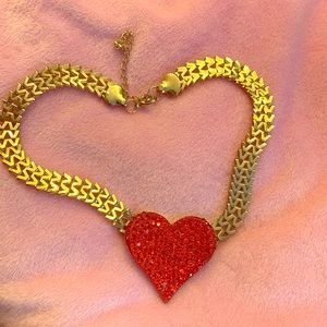 """Red Heart """"W"""" Chain Necklace"""